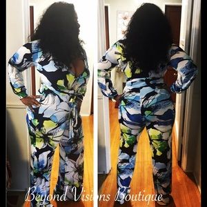 37e5987ec2c ... Sheer Green Pants Set Blue Floral Jumpsuit ...